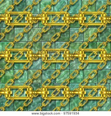 Iron Chains with Glass Tiles Seamless Texture