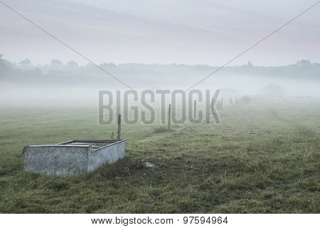 Misty Landscsape In English Countryside With Livestock Feeding Trough