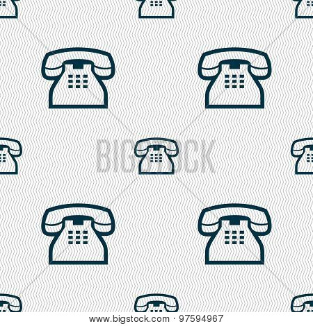 Retro Telephone Handset Icon Sign. Seamless Pattern With Geometric Texture. Vector
