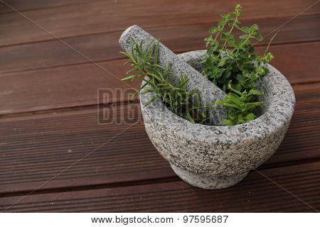 Mortar herbs