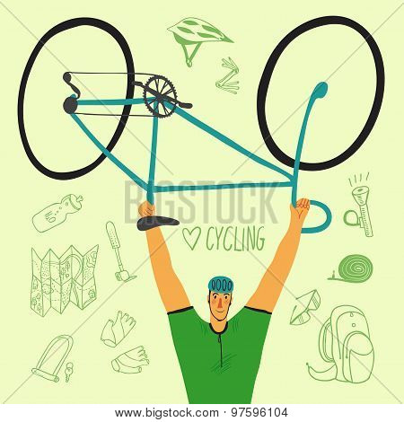 Racing Bicyclist With Equipment