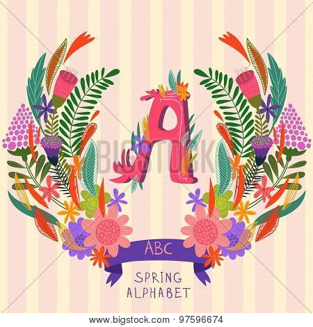 The Letter A. Floral Hand Drawn Monogram Made Of Flowers And Leafs In Vector. Spring Floral Abc Elem