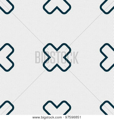 Cancel Icon Sign. Seamless Pattern With Geometric Texture. Vector
