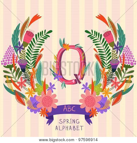 The Letter Q. Floral Hand Drawn Monogram Made Of Flowers And Leafs In Vector. Spring Floral Abc Elem