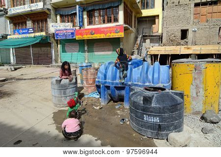 Ladakhi Children Playing On The Mainstreet In Leh