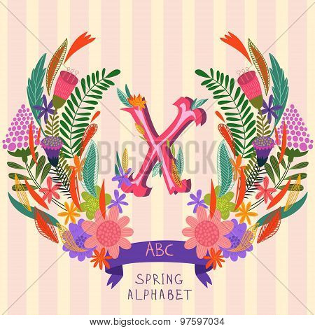 The Letter X. Floral Hand Drawn Monogram Made Of Flowers And Leafs In Vector. Spring Floral Abc Elem