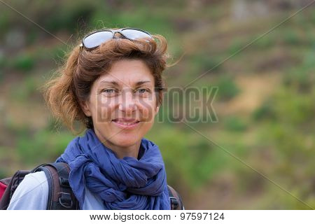 Portrait Of Lady With Natural Expression, Outdoors