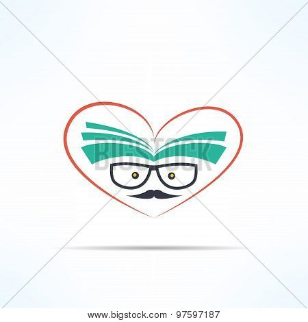 Vector love reading symbol with heart and book in modern flat design. Hipster education and literatu