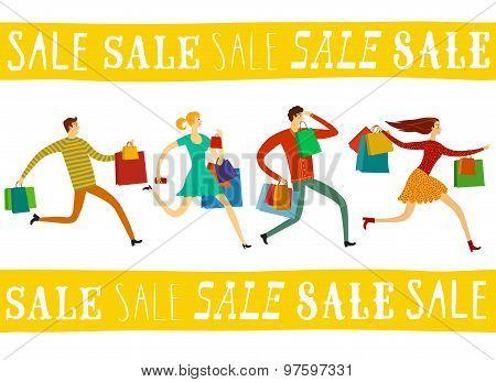 Running People For Sale Illustration Set