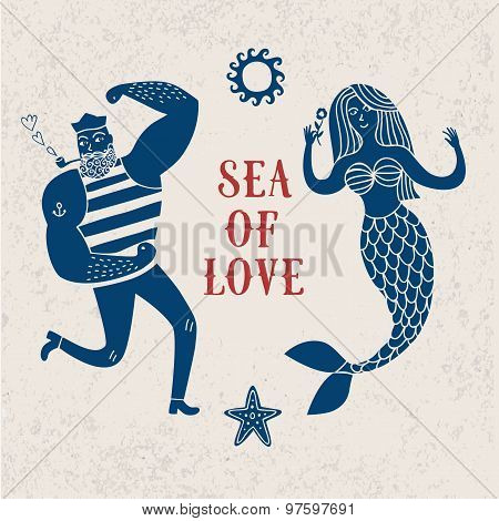 Sea Cartoon Illustration With Sailor And Mermaid