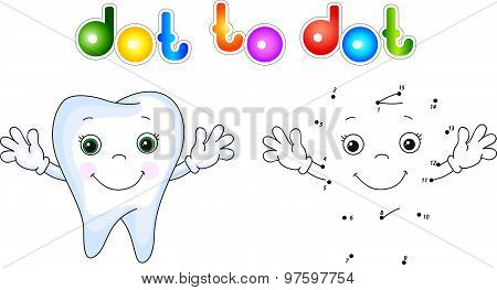 Healthy Tooth Smiling. Connect Dots And Get Image. Educational Game For Kids