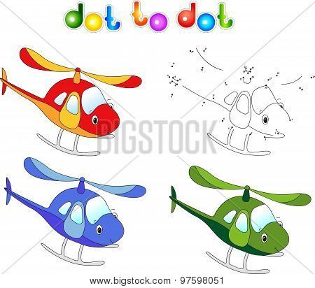 Funny Cartoon Helicopter. Connect Dots And Get Image. Educational Game For Kids