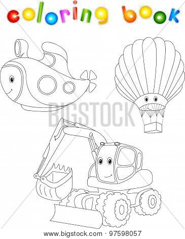 Set Of Submarine, Balloon And Excavator. Coloring Book For Children About Transport