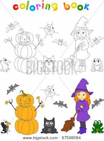 Pretty Friendly Witch With A Broomstick, Pumpkin Snowman, Surprised Crow, Bats, Black Cat And Frog.