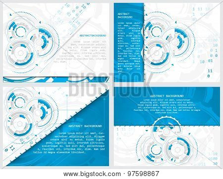 Set of gears and circuit board with arrows on abstract vector background