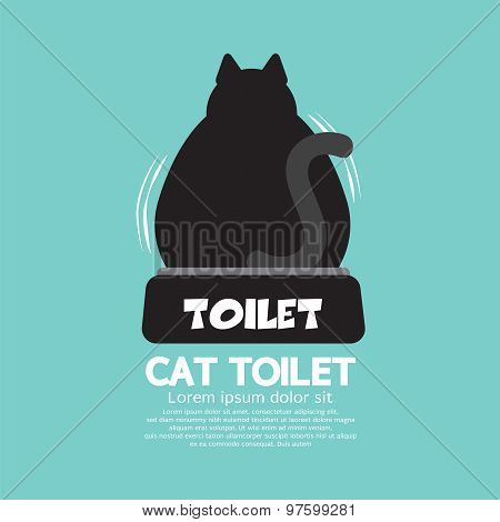 Backside Of A Cat Using Toilet.