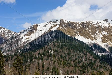 High Caucasian Mountains with snow