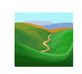 picture of long winding road  - Beautiful green  valley and the long road illustration - JPG
