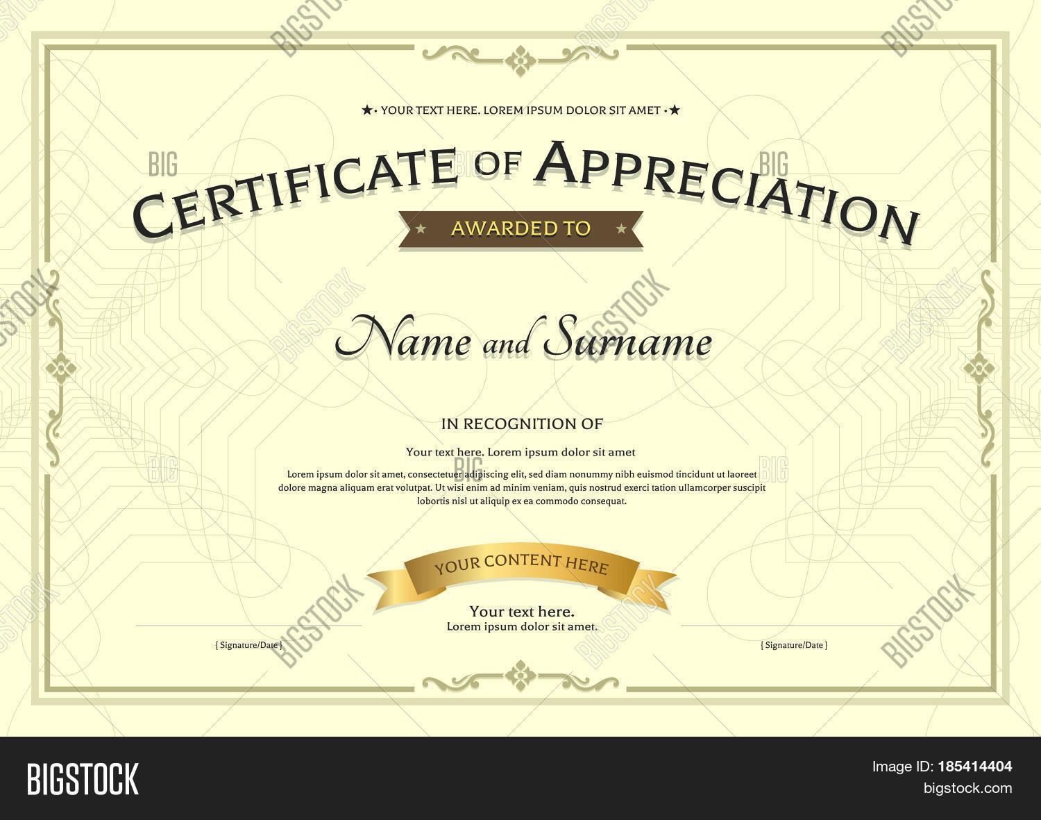 Certificate appreciation template vector photo bigstock certificate of appreciation template with award ribbon on abstract guilloche background with vintage border style yadclub Images