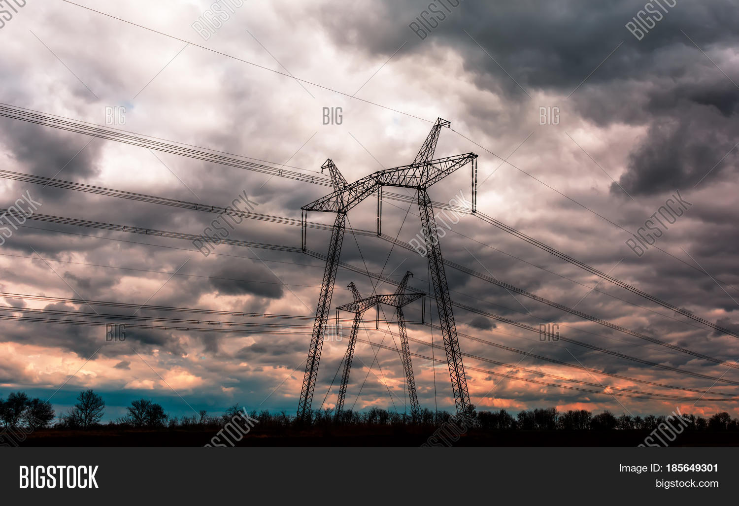 High-voltage Power Lines Sunset. Image & Photo | Bigstock