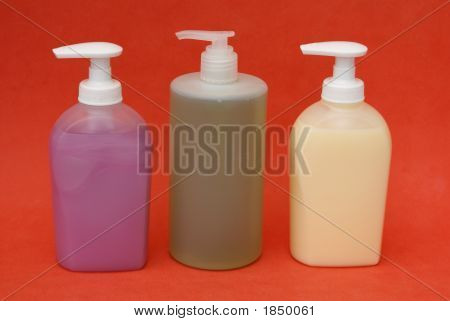 Bottles/Containers Of Hand Wash/Liquid Soap. Hygiene