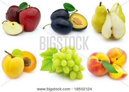 Fresh and ripe fruits on a white background