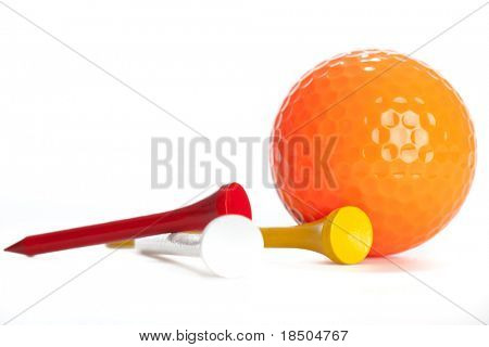 Isolated Golf ball and Tees