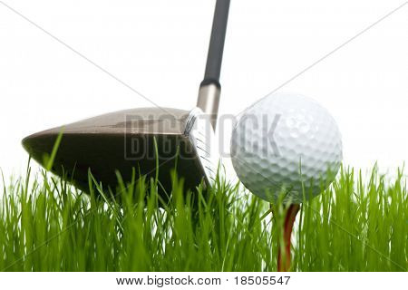 Golfball and a golfclub on a white backgorund (studio shot)