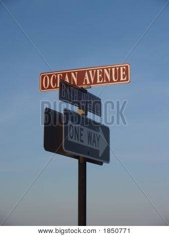 Beach: Street Signs In Coastal Town