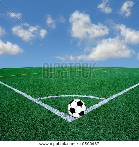 Soccer corner with soccer ball