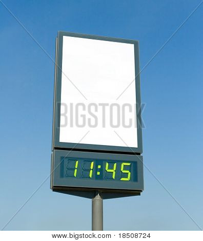 Blank billboard with digital clock