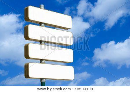 Cartel direccional en blanco