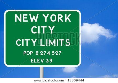 New York City Limits Road Sign