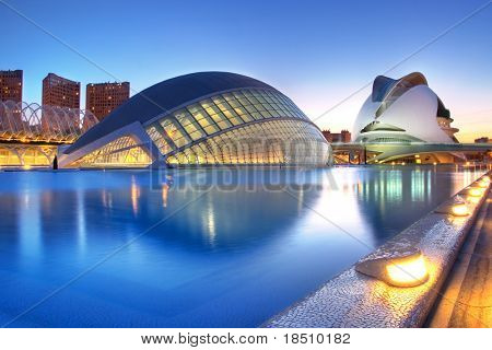 VALENCIA, SPAIN - MAY 4: Night scenery of Hemisferic and Palau de Les Arts on May 4, 2009 in Valencia, Spain