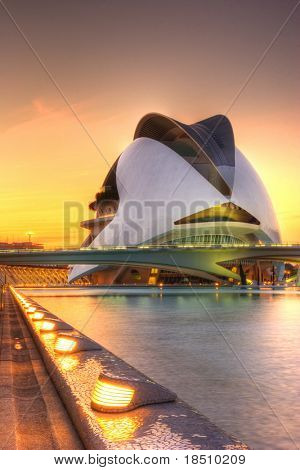 VALENCIA, SPAIN - MAY 4: Sunset scenery of Palau de Les Arts on May 4, 2009 in Valencia, Spain. The palace is an opera house and cultural centre in Valencia was opened on 8 October 2005.