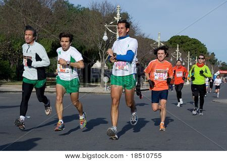 VALENCIA, SPAIN - JANUARY 10: Runners compete in the 10K Divina Pastora Valencia run on January 10, 2010 in Valencia, Spain.