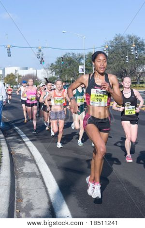 JACKSONVILLE, FLORIDA - MARCH 13: Women Runners compete in the 33rd Annual 15 Kilometer Gate River Run, the largest 15k in the USA, on March 13, 2010 in Jacksonville, Florida.
