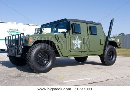 PALM COAST, FLORIDA - MARCH 27: A Humvee from the Flager County Sheriffs Office is on display at the Wings Over Flagler Air Show at the Flagler County Airport on March 27, 2010 in Palm Coast, Florida.