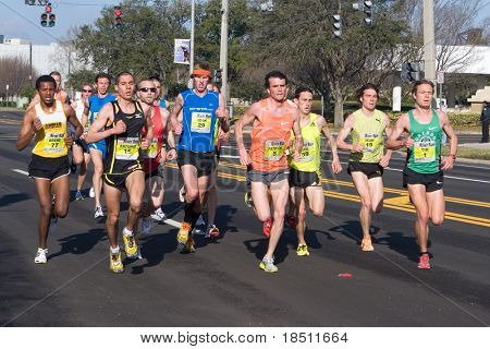 JACKSONVILLE, FLORIDA - MARCH 13: Runners compete in the 33rd Annual 15 Kilometer Gate River Run, the largest 15k in the USA, on March 13, 2010 in Jacksonville, Florida.