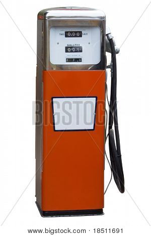 Orange Antique Gas Pump Isolated on White