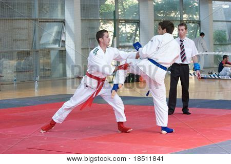 VALENCIA, SPAIN - JUNE 8: Contestants participate in the Jujitsu Competition of the 2010 European Police and Fire Games (EUROPOLYB) on June 8, 2010 in Valencia, Spain.