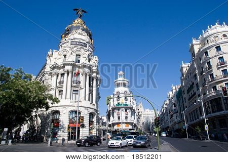 MADRID - AUGUST 7: The Gran Via in Madrid marked its 100 year history in 2010 and is the city's main commercial streets with a length of 1,316 meters. Gran Via on August 7, 2010 in Madrid, Spain.
