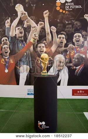 VALENCIA, SPAIN - SEPT 27: The World Cup Trophy, won by Spain in South Africa in July 2010, is on public display in the Principe Felipe Museum on on September 27, 2010 in Valencia, Spain.