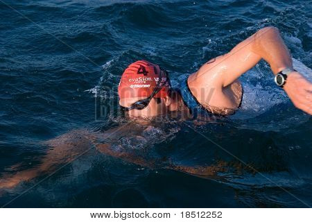 VALENCIA, SPAIN - SEPT 5: An unknown athlete competes in the First Edition of the Valencia Triathlon at the port of Valencia on September 5, 2010 in Valencia, Spain.