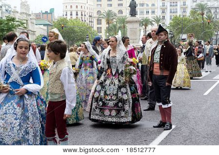 VALENCIA, SPAIN - MAY 2: Unidentified participants wearing traditional Valencian dress for the Saint Vincent Ferrer parade held on May 2, 2011. Saint Vincent is the patron saint of Valencia, Spain.