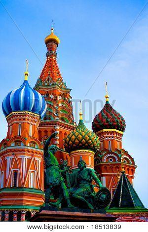 Kuppeln der Kopf von St. Basil's Kathedrale auf dem Roten Platz, Moskau, Russland