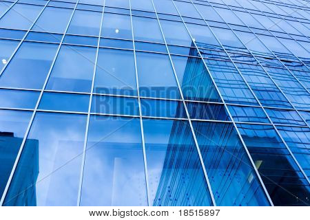 turquoise abstract wall of modern business office skyscraper