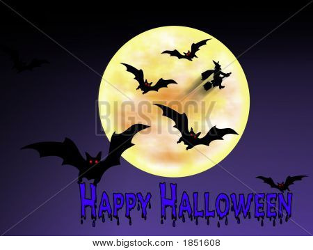 Happy Halloween Bats And Witch