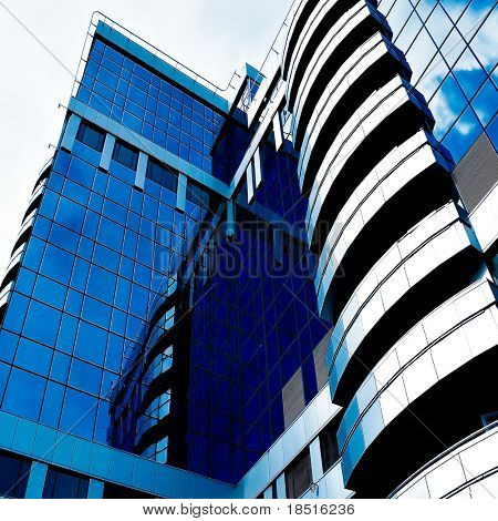 Blue abstract diagonal angle of modern office skyscraper