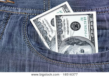 Two hundred Dollars in a pocket of jeans
